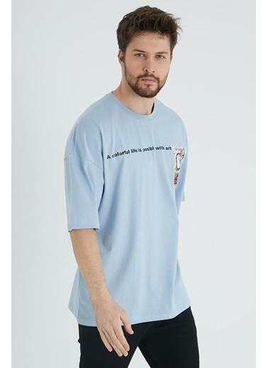 XHAN Taş Rengi Baskılı Oversize T-Shirt  Mavi